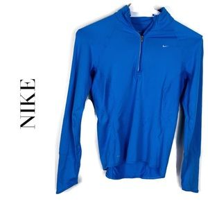 Nike Blue Long Sleeve 1/4 ZIP Dri-Fit Sweatshirt